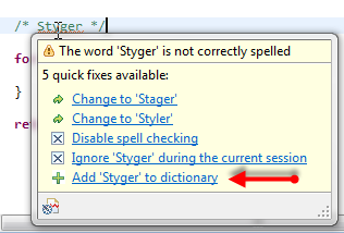 How to re-enable 'Add to dictionary' for the Eclipse Spell