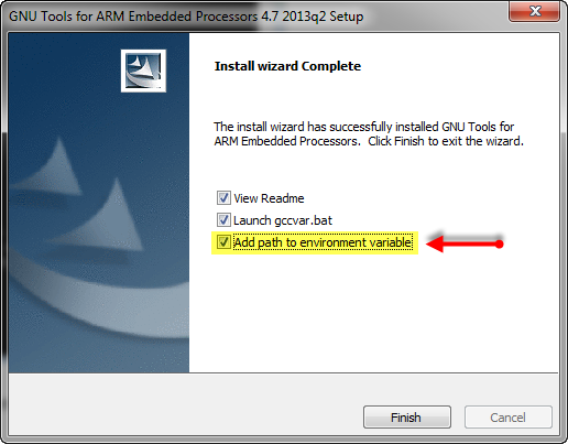 ARM GNU Tools Setup to add environment variables