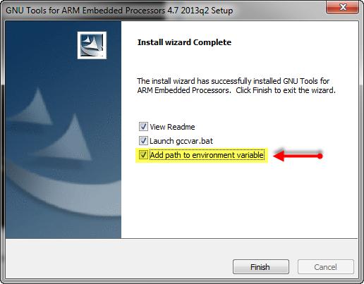 ARM GNU Tools Setup to add environment variables
