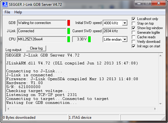 J-Link GDB Server Waitng for Connection