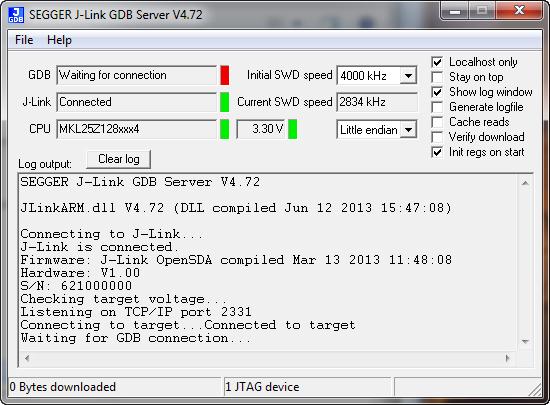 J-Link GDB Server Waitng for Connection