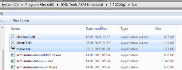 Make binaries inside ARM GNU bin folder