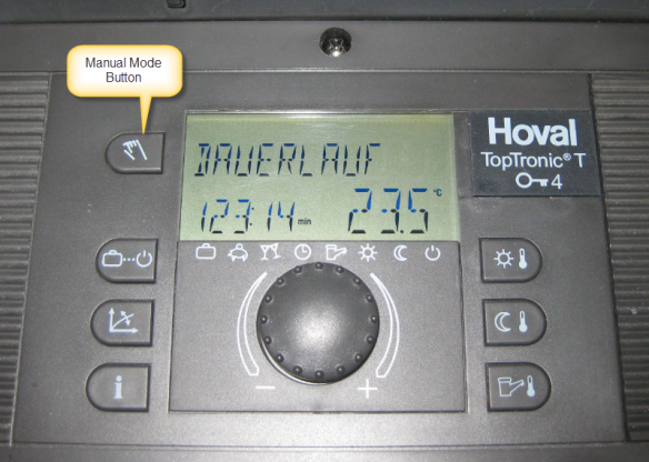 Manual Mode Button on Hoval Toptronic