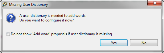 Missing User Dictionary