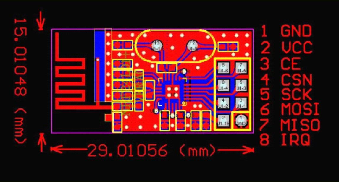 NRF24L01 Layout and Pins