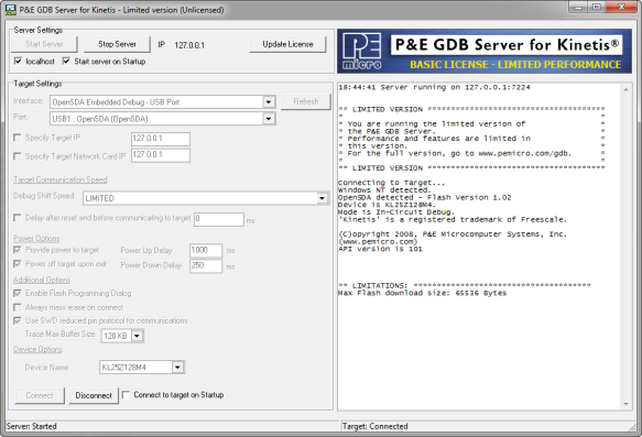 PnE GDB Server Connected to Target