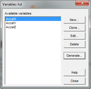 Accelerometer Variables Created