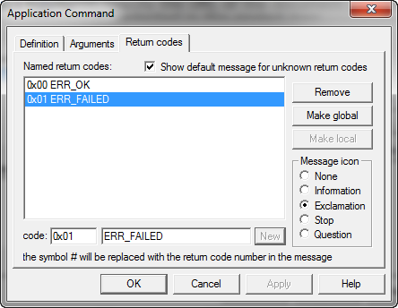 Application Command Return Codes