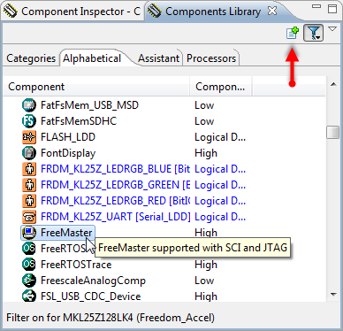 FreeMaster in Components Library View