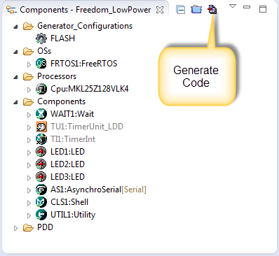 Components View with Generate Code Button