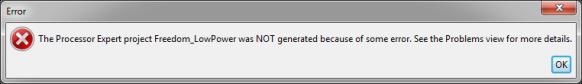 Processor Expert Code Generation Failed
