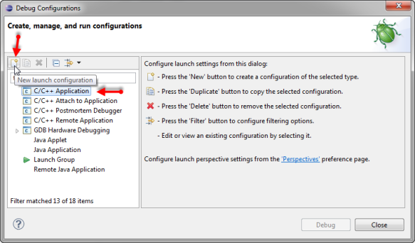 Creating new C C++ Debug Configuration