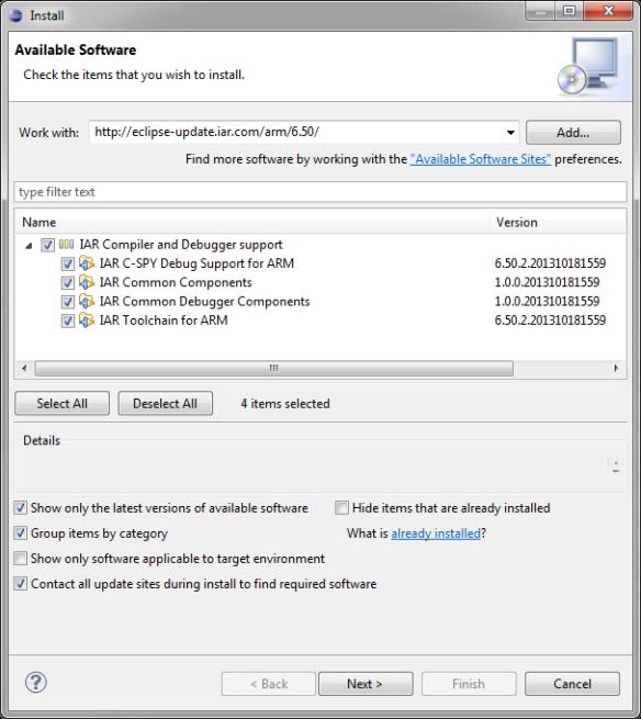 Installing IAR Plugins in Eclipse