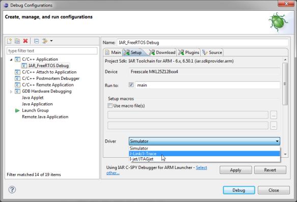 Selecting J-Link as debug connection