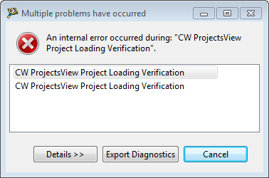 CW ProjectsView Project Loading Verification Error