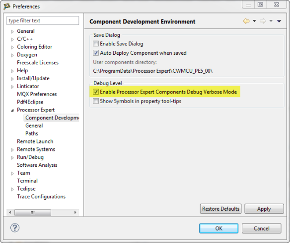 Enable Processor Expert Components Debug Verbose Mode