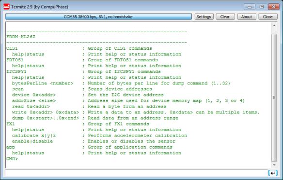 FRDM-KL26Z Shell Help Output