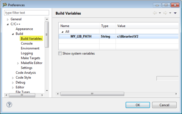 Workspace Build Variables