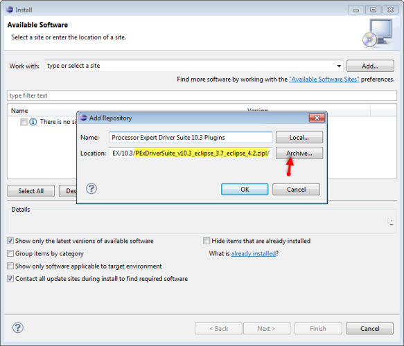 Install New Software for Processor Expert Drivers Suite 10.3