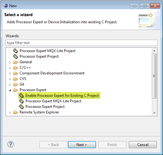 Enable Processor Expert for Existing C Project