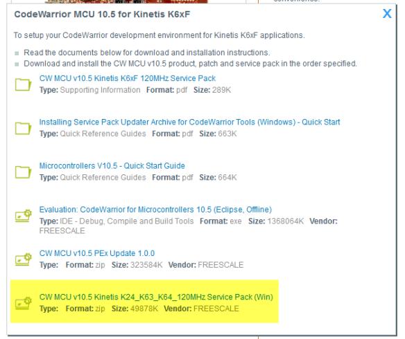CW MCU v10.5 Kinetis K24_K64_K64_120Mhz Service Pack