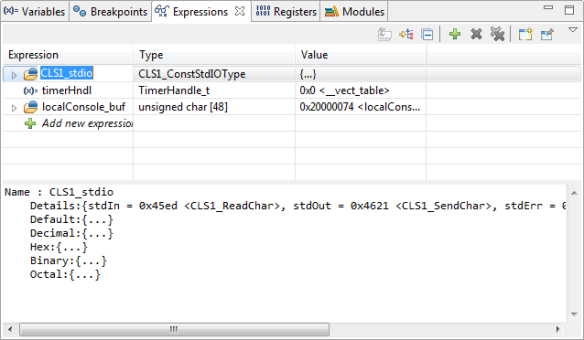 Expressions View to Show Global Variables