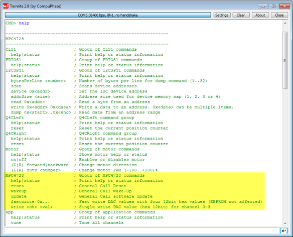 MPC4728 Shell commands