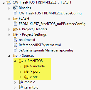 Static FreeRTOS Sources in another project