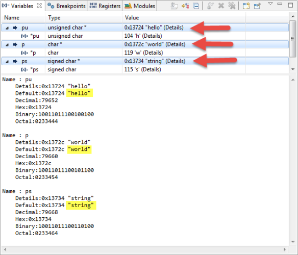 Variables View with multiple Selections