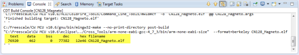 Code Size Information in Build Console