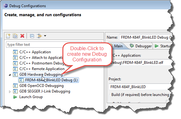 Double Click to Create New Launch Configuration