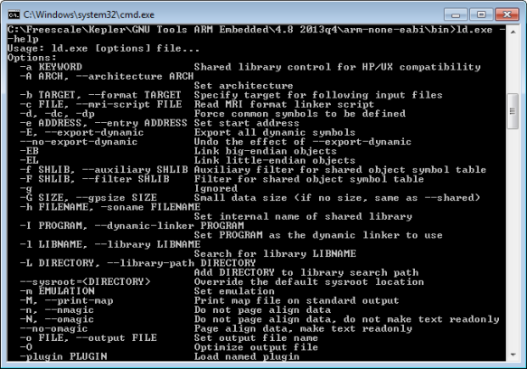 GNU ARM Embedded Linker Options