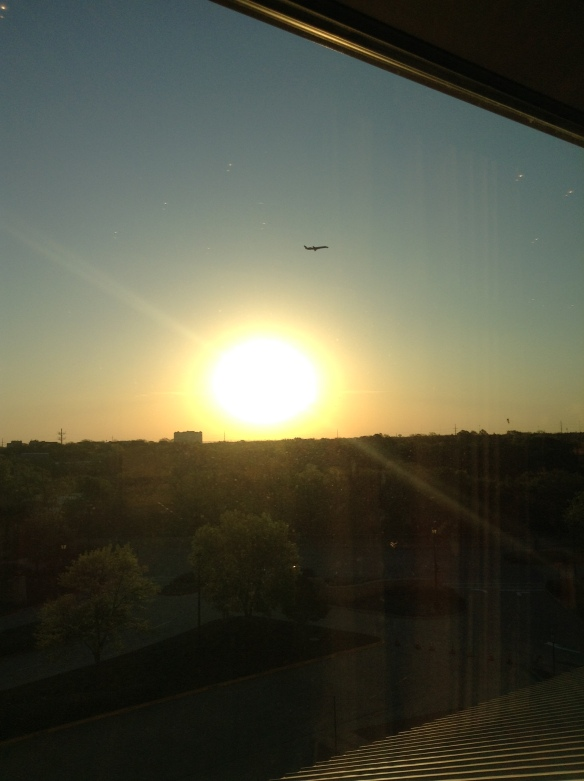 Sunrise with airplane
