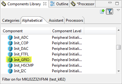 Init_GPIO Component in Components Library