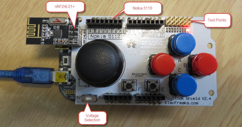 Arduino joystick shield nrf l motores