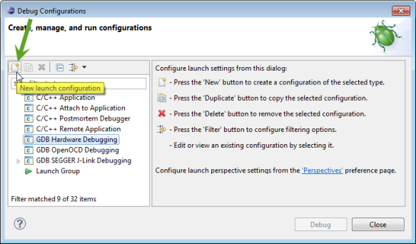 New Debug Configuration with New Icon