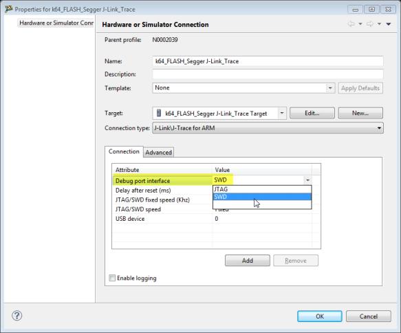 Segger J-Link configured for SWD