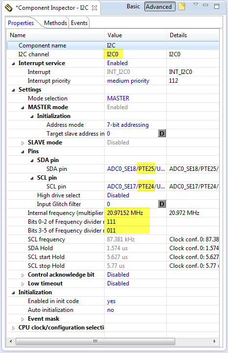 Accelerometer I2C Configuration