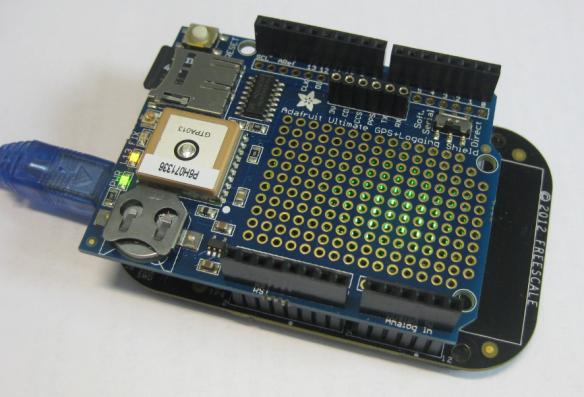 Adafruit GPS Data Logger Shield on a FRDM-KL25Z Board