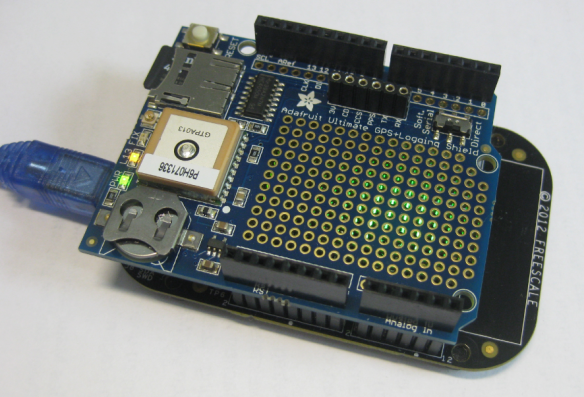 Adafruit GPS Data Logger Shield on a FRDM-KL25Z Board