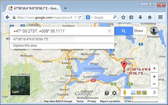 Coordinates in Google Maps