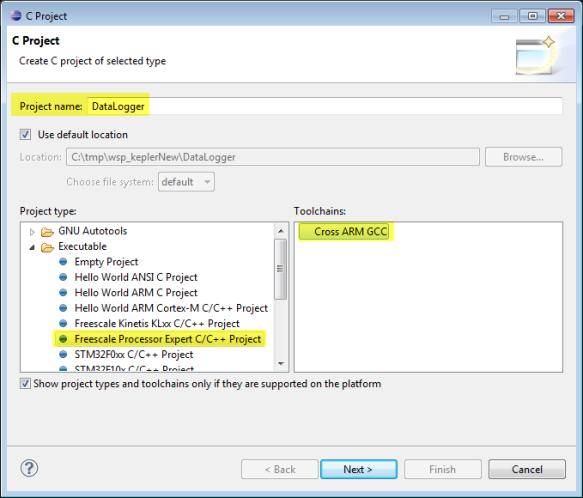DataLogger Cross ARM GCC Project for Processor Expert