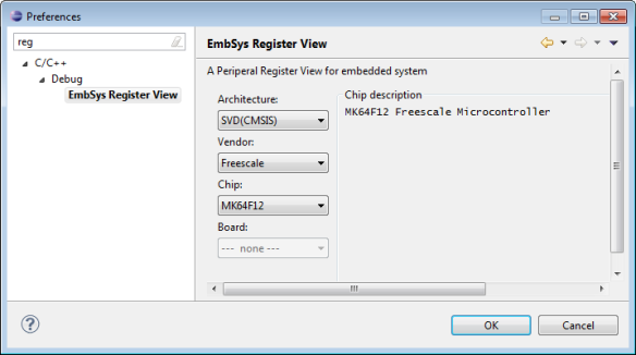 EmbSys Register View in Workspace Preferences