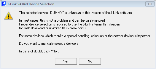 J-Link Device Selection