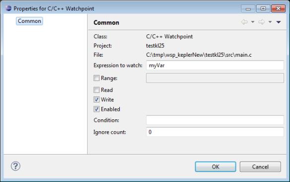 Properties for C C++ Watchpoint