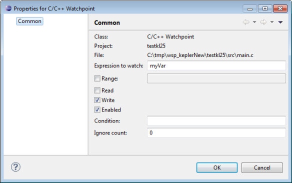 Properties for C C++ Watchpoint