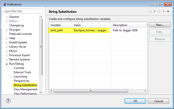Segger jlink_path string variable
