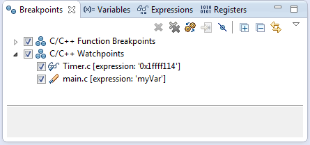 Watchpoints in Breakpoint View