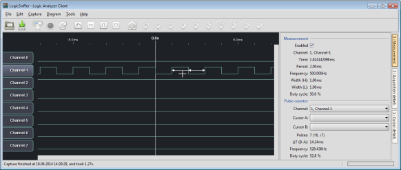 500 Hz signal with 50% duty cycle in LogicSniffer