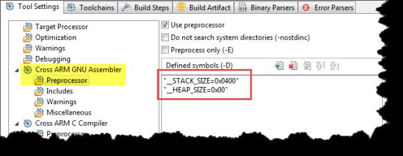 GNU Assembler Preprocessor Settings